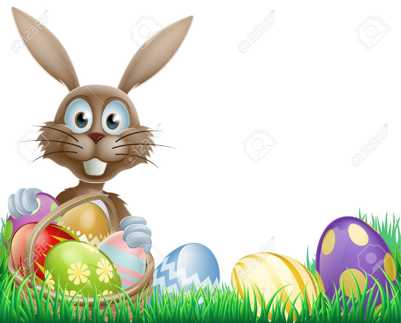 1300x1045 A Cartoon Easter Bunny Rabbit With An Easter Eggs Basket Royalty