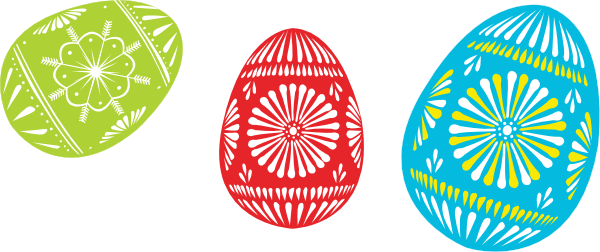 600x252 Colour Easter Eggs Clip Art Free Vector 4vector