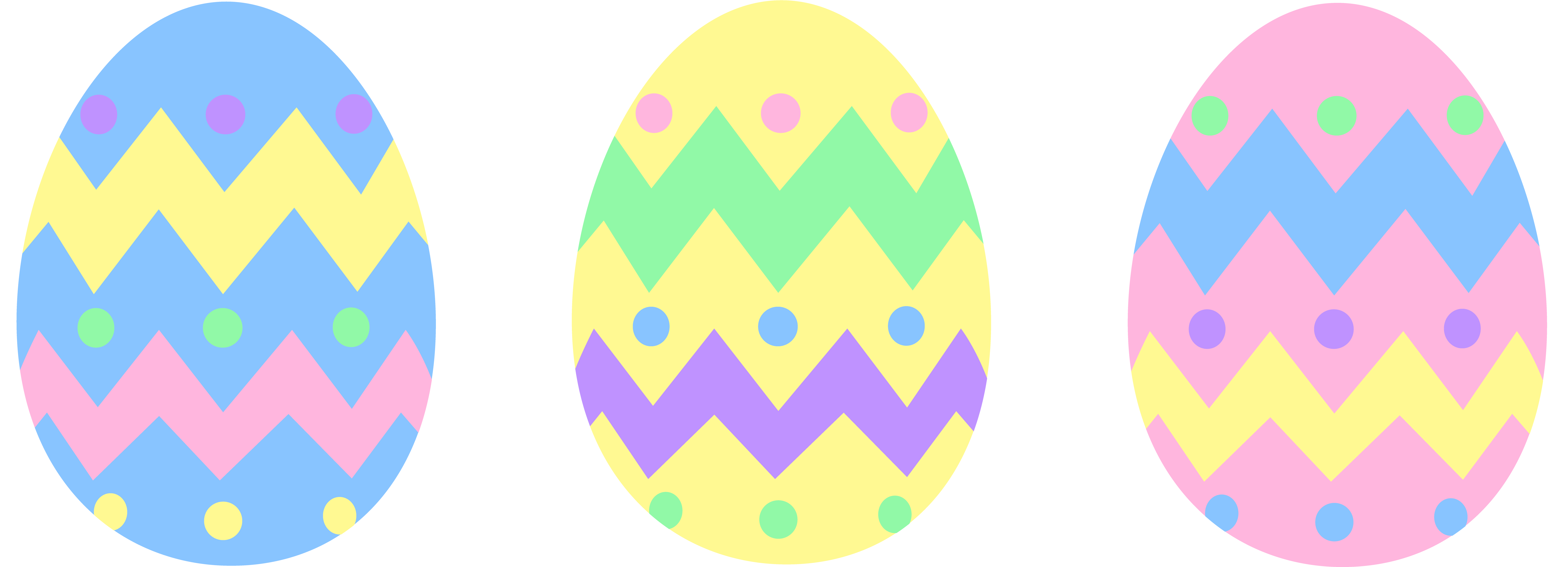 7655x2769 Three Pastel Colored Easter Eggs