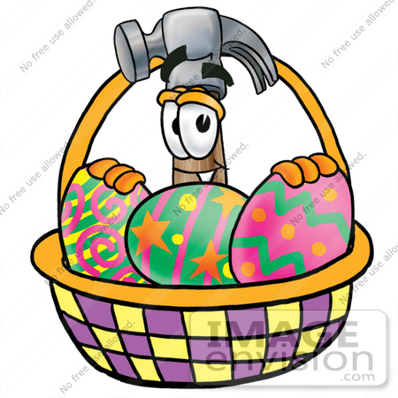 450x450 Clip Art Graphic Of A Hammer Tool Cartoon Character In An Easter
