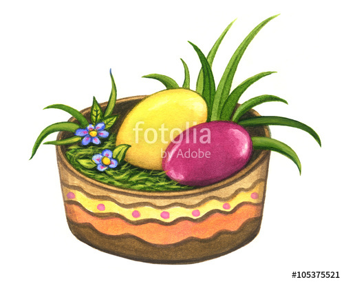 500x409 Easter Basket With Easter Eggs And Grass Isolated On A White