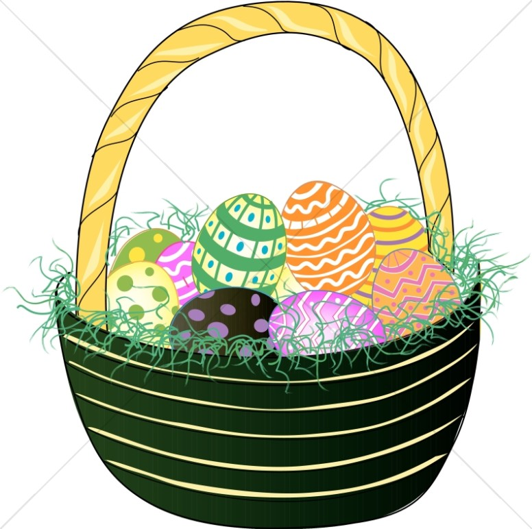 776x772 Green Basket With Easter Eggs Easter Egg Clipart