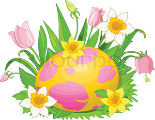 320x248 Illustration Of Beautiful Easter Eggs In A Grass And Flowers