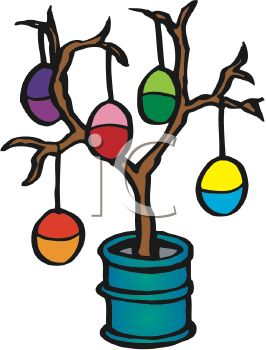 266x350 Picture Of Colourful Easter Eggs Hanging On Tree Branches In