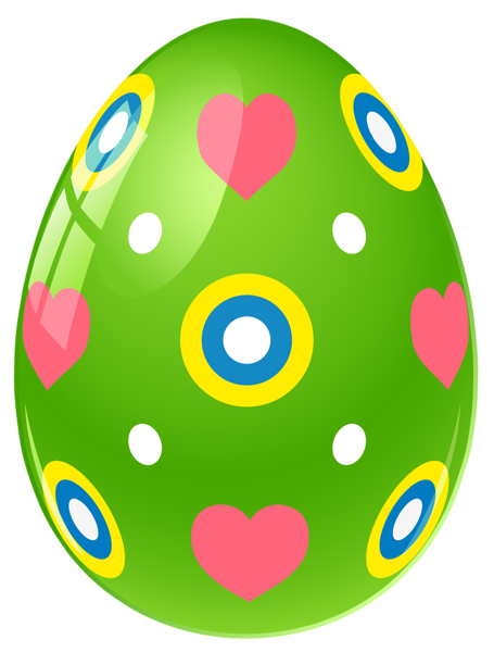 455x600 Images Of Easter Png Green Easter Egg With Hearts Png Clipart