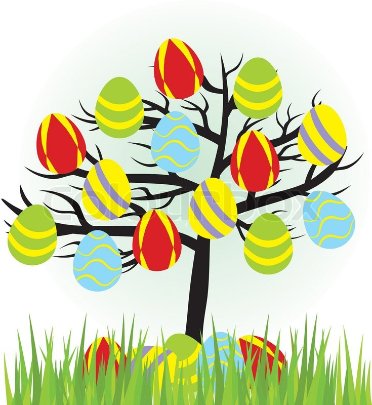 735x800 Cartoon Easter Tree With Eggs And Grass Stock Vector Colourbox