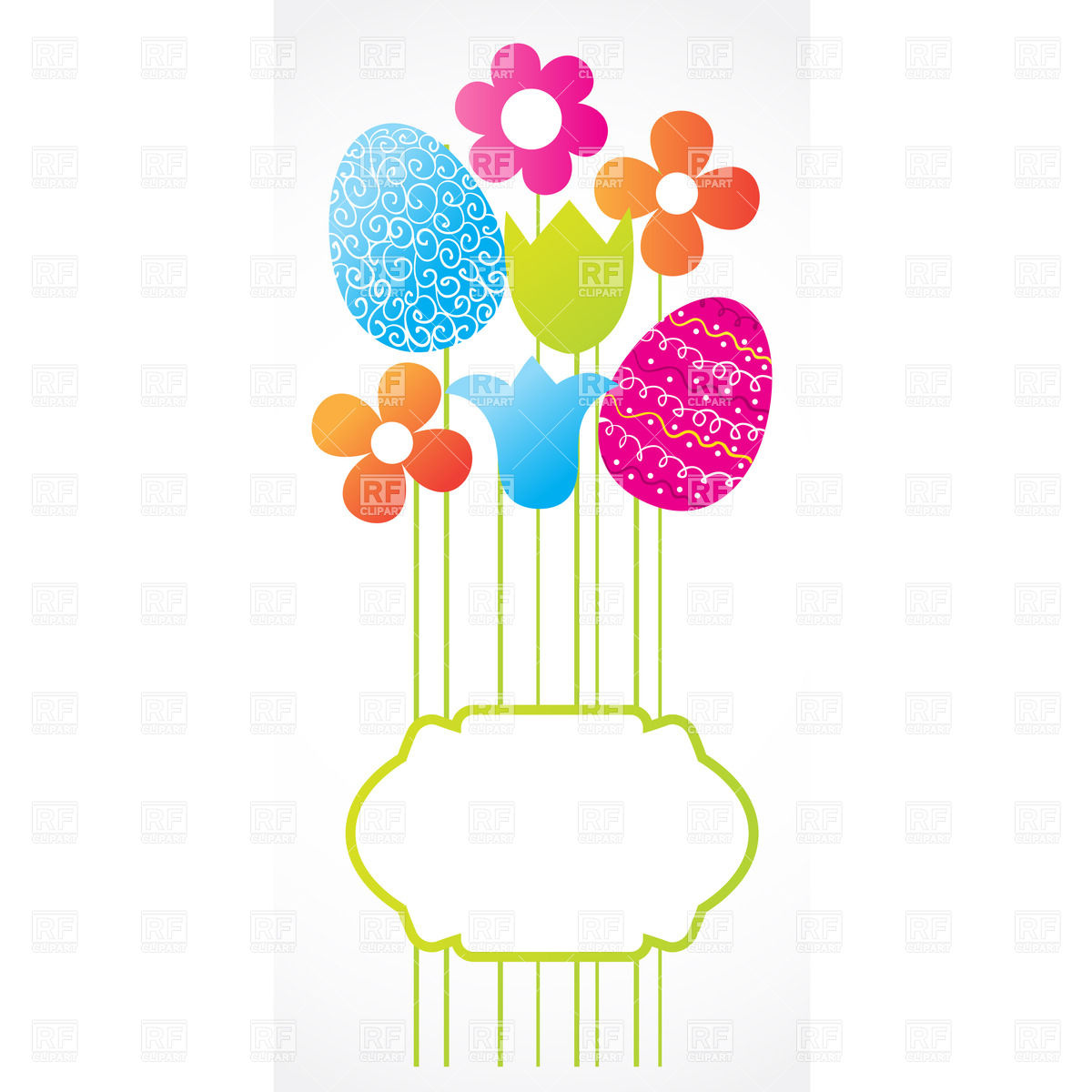 1200x1200 Easter Frame With Eggs And Stylish Flowers Royalty Free Vector