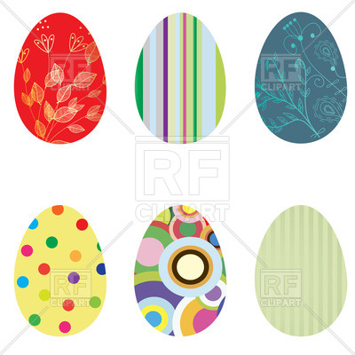 400x400 Ornate Easter Eggs With Motley Patterns Royalty Free Vector Clip