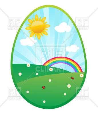 343x400 Egg Shaped Easter Design With Sun,sky And Rainbow Royalty Free