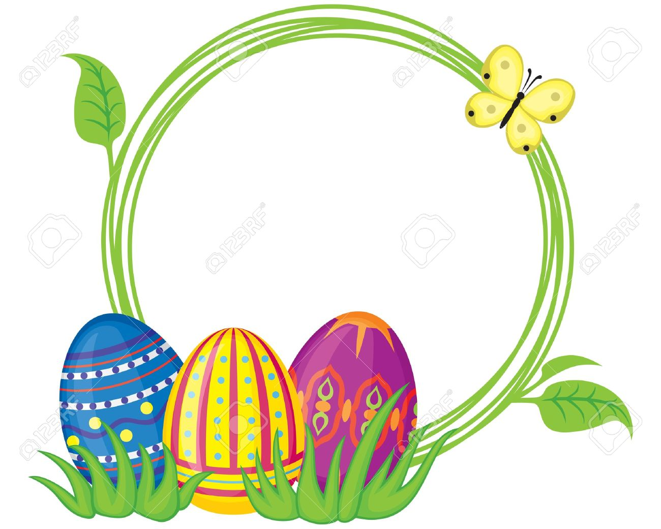 1300x1040 Greeting Frame With Easter Eggs And Grass Royalty Free Cliparts