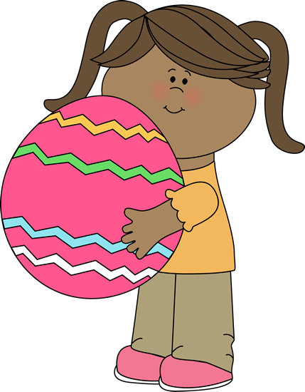 429x550 Girl With A Big Easter Egg Clip Art