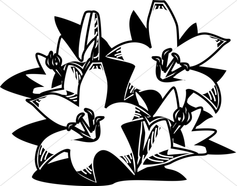 776x610 Woodcut Style Easter Lilies Easter Clipart