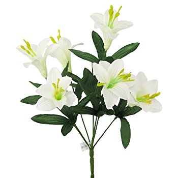 350x350 14 Beautiful Easter Lily Artificial Flower Bush
