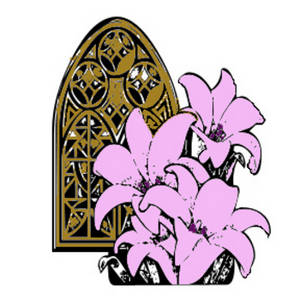 300x300 Clipart Picture Of A Church Window With Pink Lilies