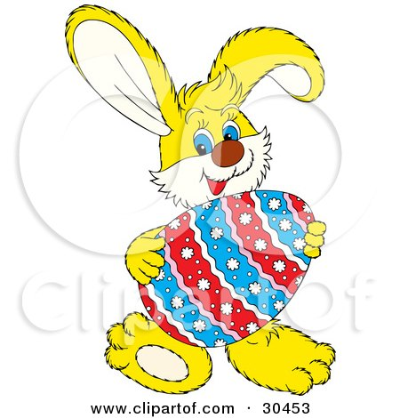 450x470 Clipart Illustration Of A Friendly Yellow Easter Bunny Smiling