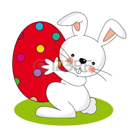 450x450 Small Lovely Easter Rabbit Holds Easter Egg Royalty Free Cliparts