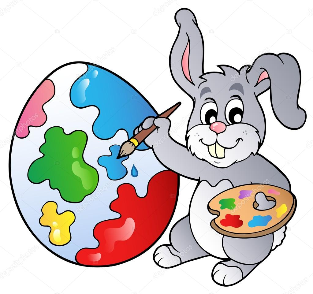 1023x961 Bunny Artist Painting Easter Egg Stock Vector Clairev