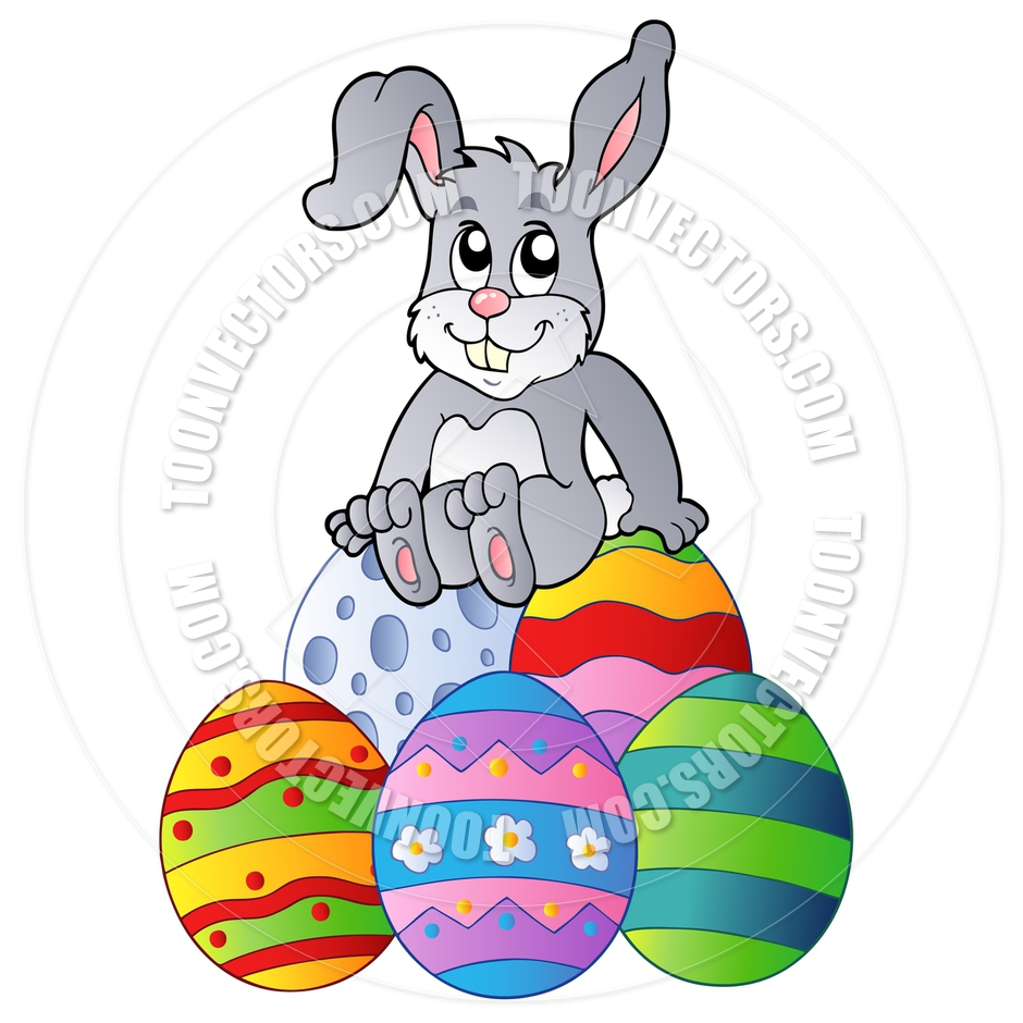 940x940 Cartoon Easter Bunny Sitting On Easter Eggs By Clairev Toon