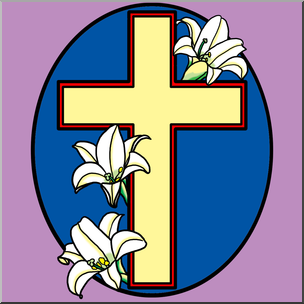 304x304 Clip Art Religious Cross With Easter Lilies Color I