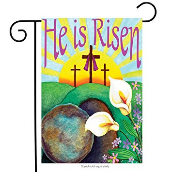355x355 He Is Risen Easter Garden Flag Religious Jesus 12.5