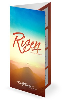 242x388 Risen Easter Sunday Church Trifold Bulletin Tri Fold Church