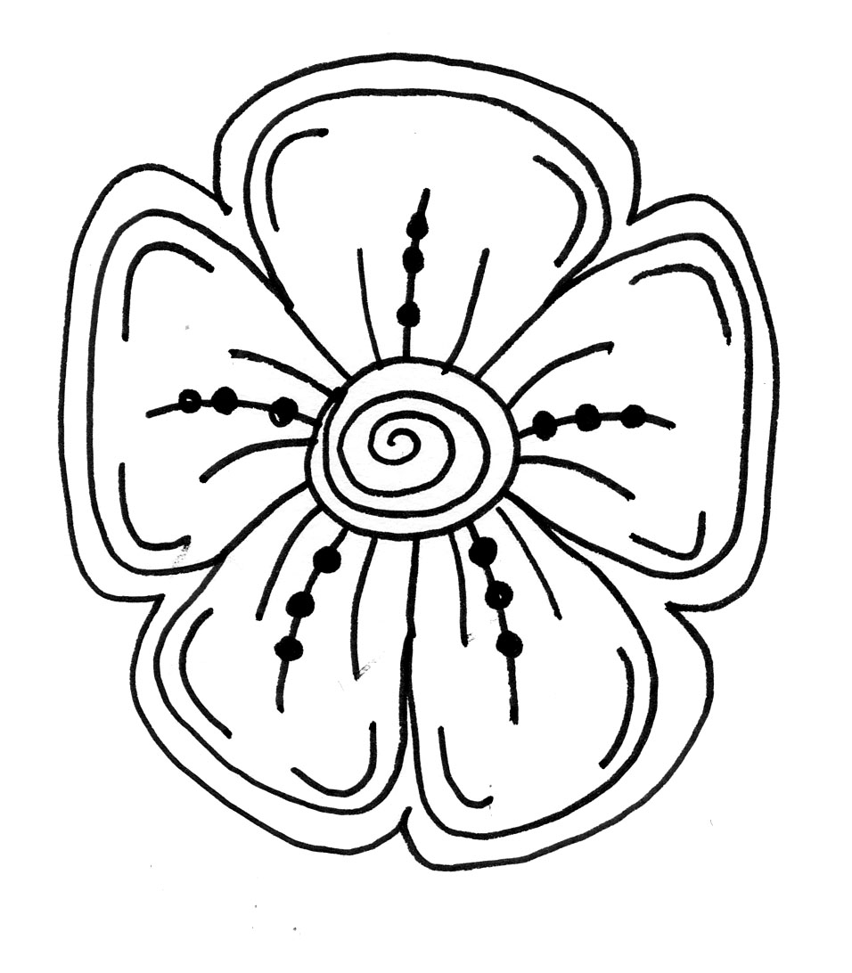 956x1092 How To Draw Easy Flowers. Finest Easy Flower To Draw Coloring Page