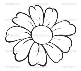 341x300 Coloring Pages Flower Simple Drawing Drawings Pencil Easy