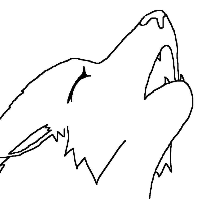 900x842 Lineart Female Wolf Howling By Katpocketmonster