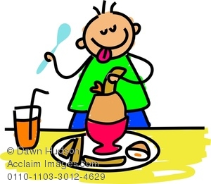 300x261 Clipart Image Of A Hungry Little Boy Eating A Boiled Egg And Toast