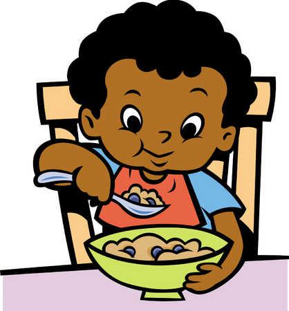 418x450 Boy Eating Breakfast Clipart