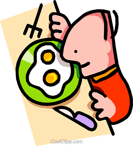 439x480 Man About To Eat Breakfast Royalty Free Vector Clip Art
