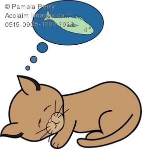 287x300 Clip Art Illustration Of A Kitten Dreaming Of A Fish To Eat