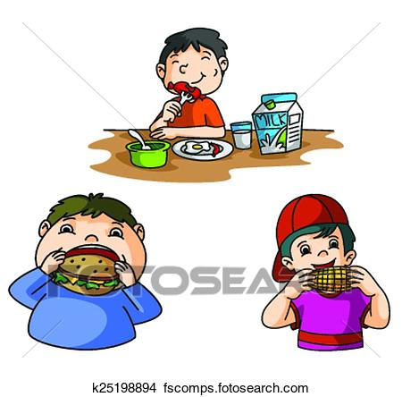450x444 Clipart Of Boys Eat Burger K25198894