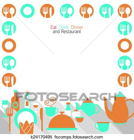 450x470 Clipart Of Dinner Restaurant And Eating Frame K24170495