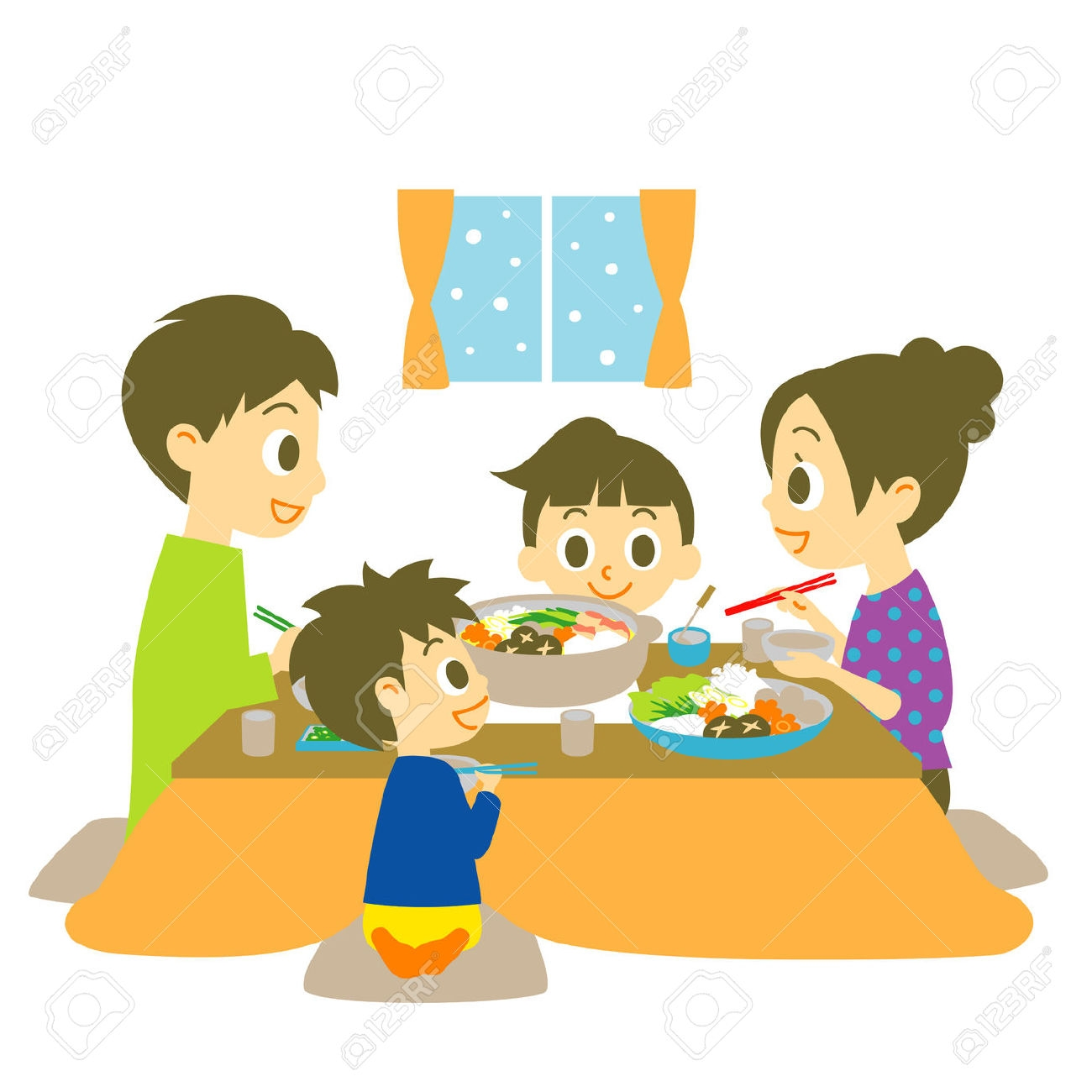 1300x1300 Family Eating Clipart