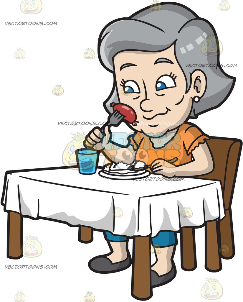 825x1024 A Mature Woman Eating Sausage And Rice Cartoon Clipart