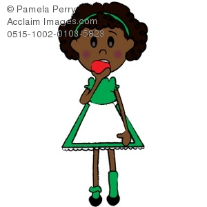 300x300 Art Illustration Of An African American Girl Eating An Apple