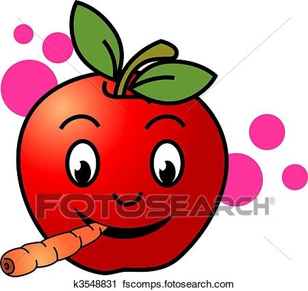 450x425 Clipart Of Apple Eating To The Carrot K3548831