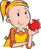 141x170 Eating An Apple Clipart