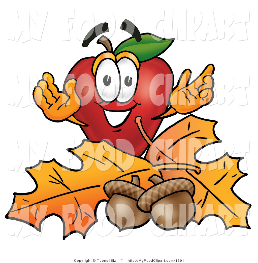 1024x1044 Food Clip Art Of A Grinning Red Apple Character Mascot With Acorns