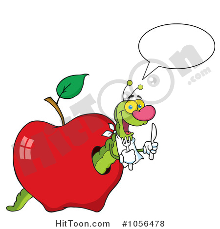 450x470 Worm Eating Apple Clipart