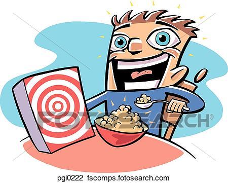 450x361 Clip Art Of Boy Eating Cereal Pgi0222