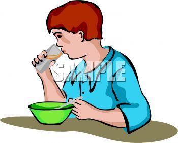350x282 Boy Eating Breakfast Clip Art