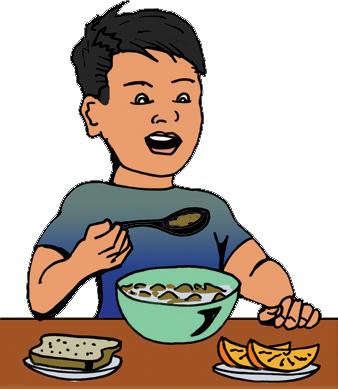 338x389 Boy Eating Breakfast Clipart