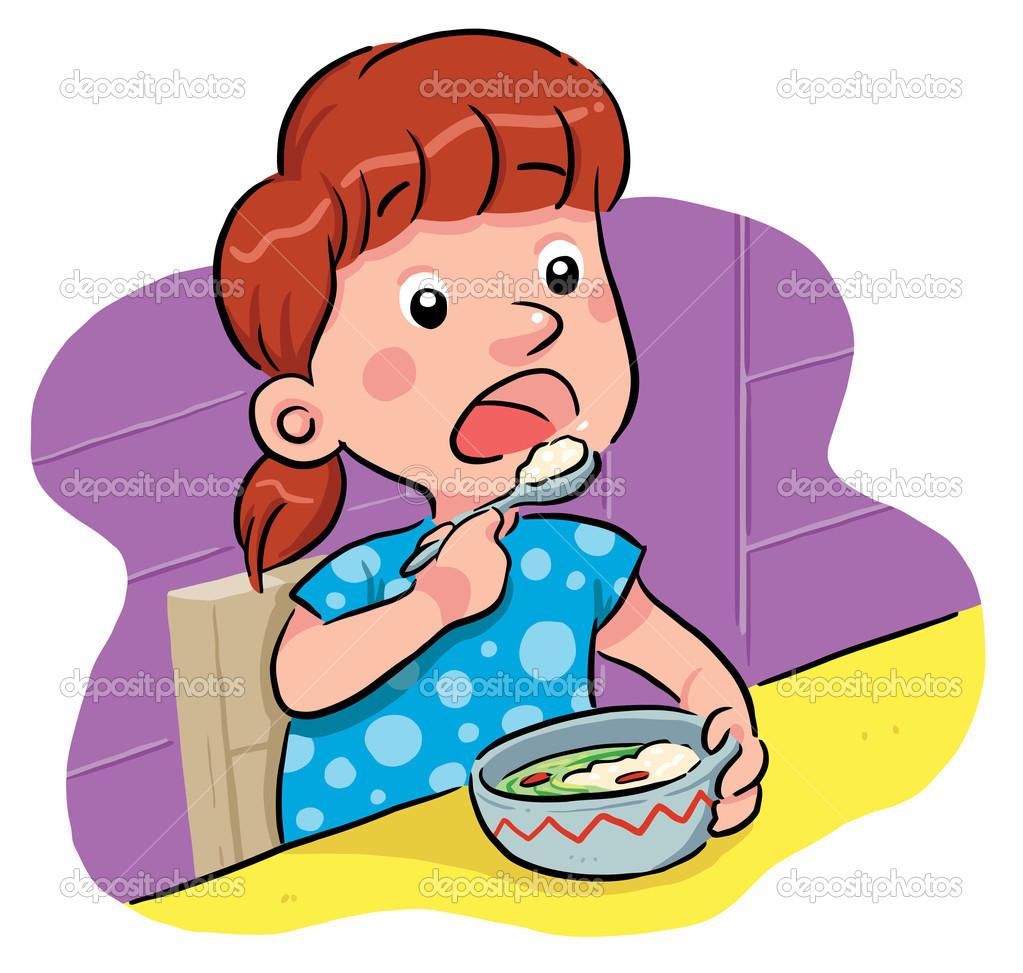 1023x973 Girl Eating Breakfast Clipart
