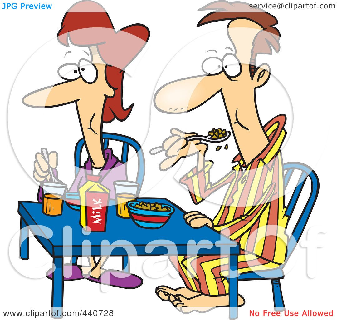 1080x1024 Royalty Free (Rf) Clip Art Illustration Of A Cartoon Couple Eating