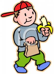 220x300 Free Clipart Image A Boy Eating A Banana
