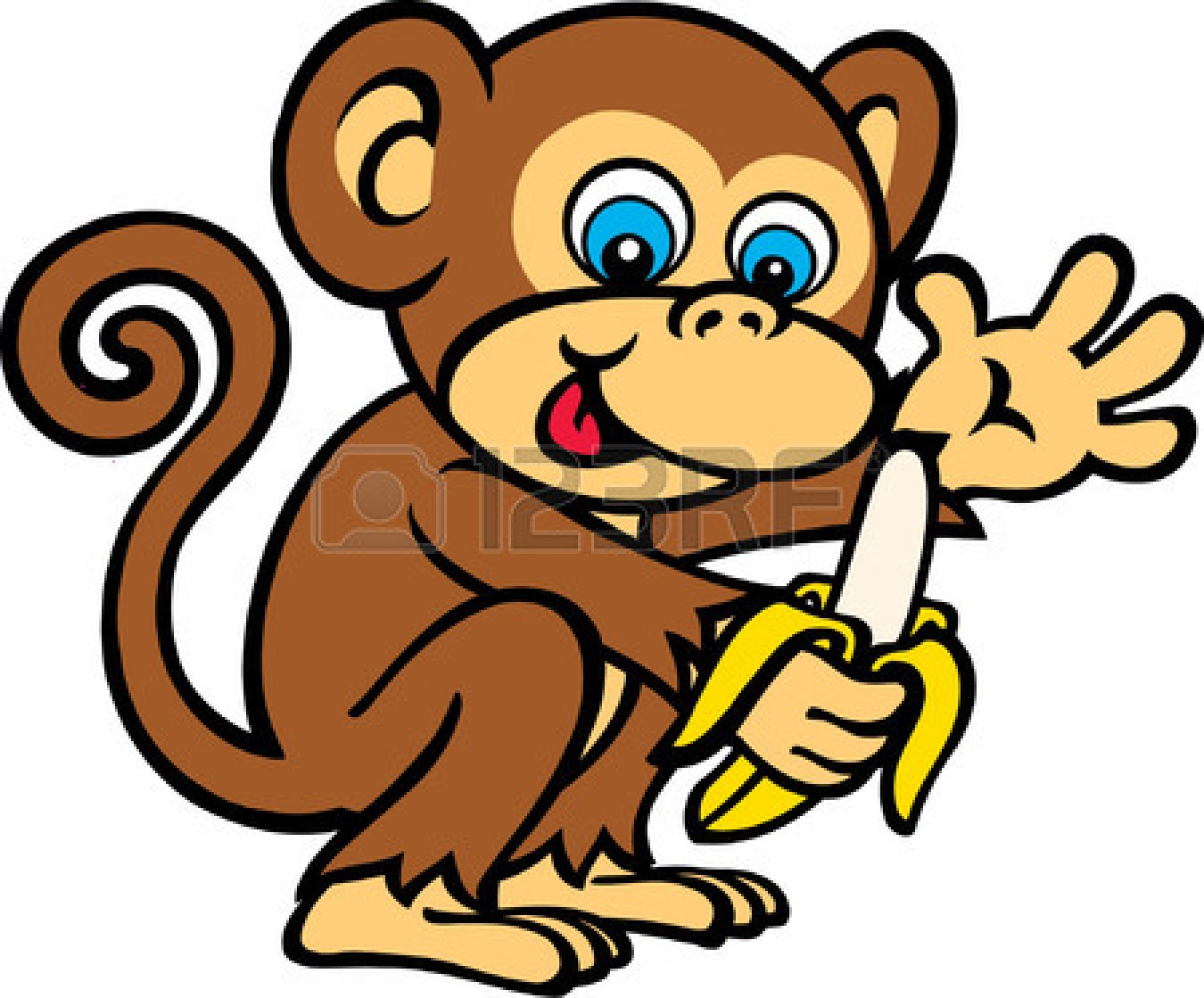 1350x1119 Monkey Banana Cartoon Clipart