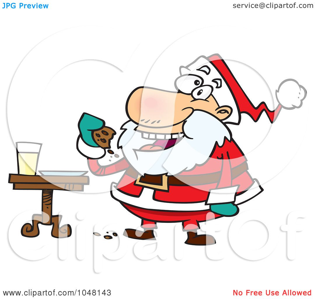 1080x1024 Royalty Free (Rf) Clip Art Illustration Of A Cartoon Santa Eating