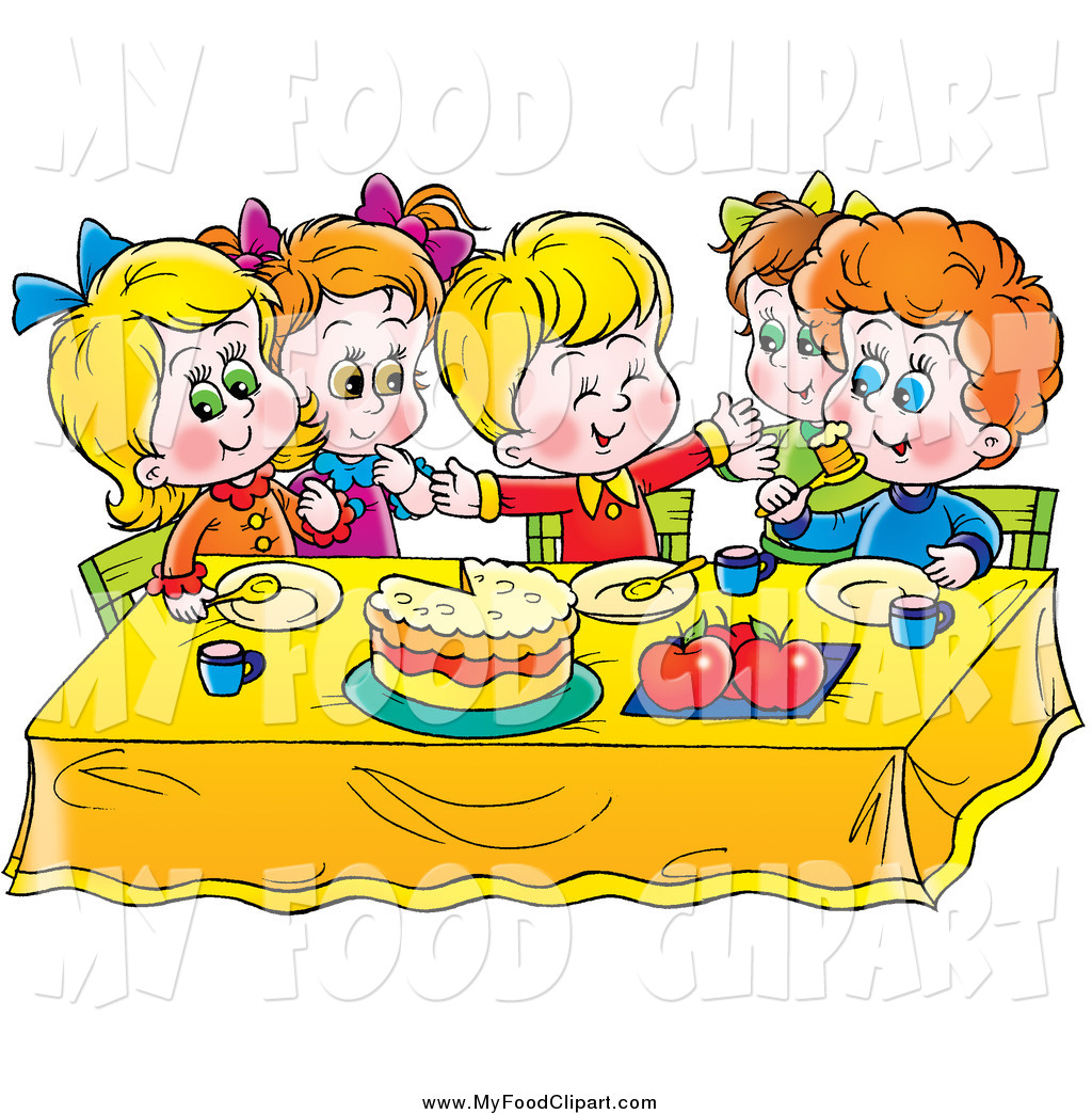 1024x1044 Food Clip Art Of A Group Of Happy Children Eating Cake